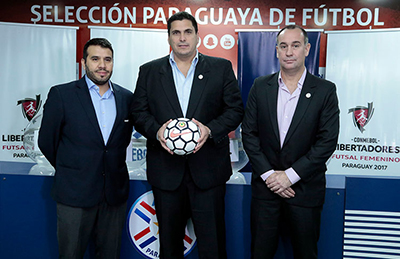 3rd CONMEBOL Women Futsal Club Championships - Copa Libertadores Draw in Asuncion: Hugo Figueredo (left) Robert Harrison and José Luis Alder (Photo courtesy: APF/CONMEBOL)